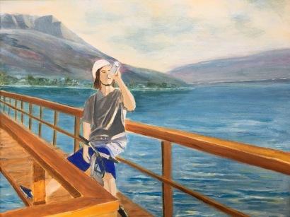 Cyclist on wharf art