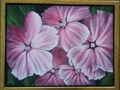 Pink Lavatera painting