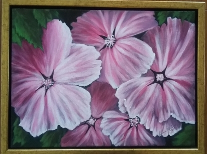 Pink Lavatera painting