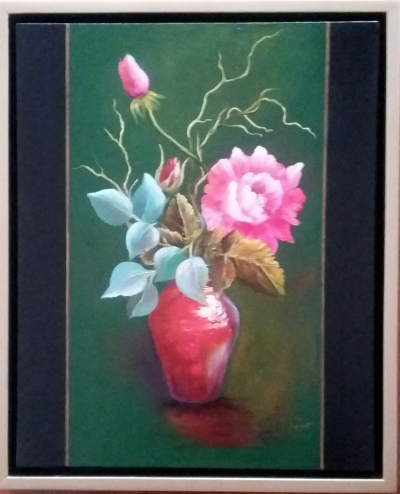 Roses in Red Vase painting