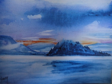Judi Reglin - Copper Island Blue - Watercolour/Ink 8x10 $40 Unframed