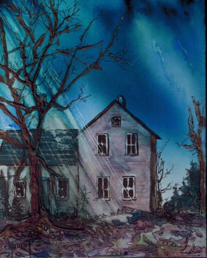 Judi Reglin - Haunted House - 8x10 Mixed Medium Acrylic/Watercolour/Ink $40 unframed