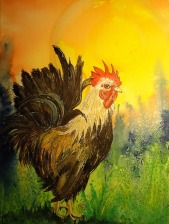 Judi Reglin - Rooster 12x16 Mixed Medium Sold