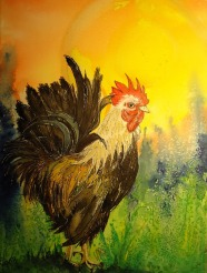 Judi Reglin - Rooster 12x16 Mixed Medium Sold
