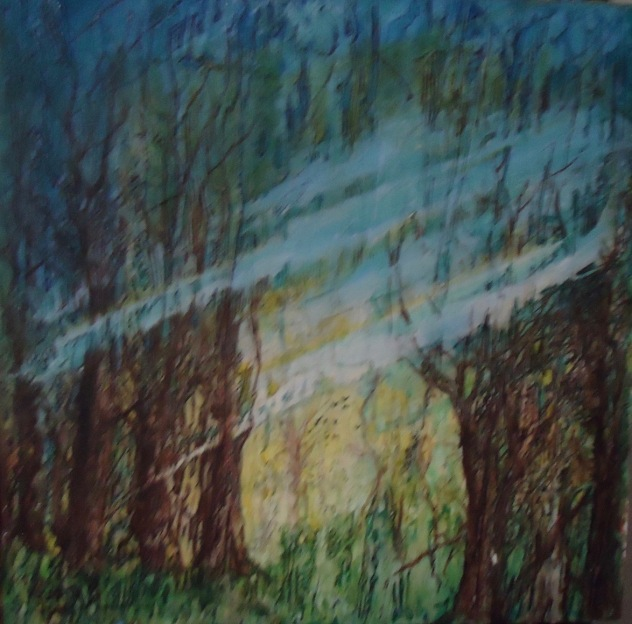 Judi Reglin - Smoke in the Forest - 16x16 Gallery Wrap Mixed Medium $50