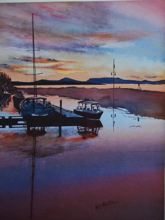 "Bill Burton -Salmon Point Sunset 10.5 x 14.5"" Watercolour NFS"