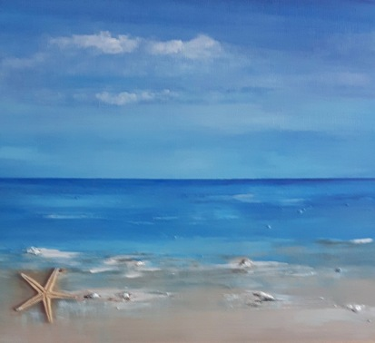 """Claudia Nicholson - A Day at the Beach Acrylic 8x10"""" SOLD"""
