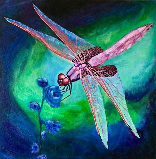 "Karen Barter - Dragonfly - 16"" x 16"" Acrylic on canvas. NFS"
