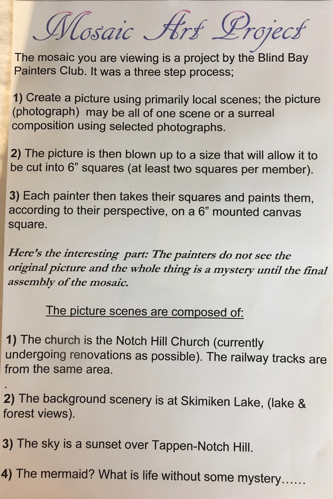Mosaic Art Project Explanation