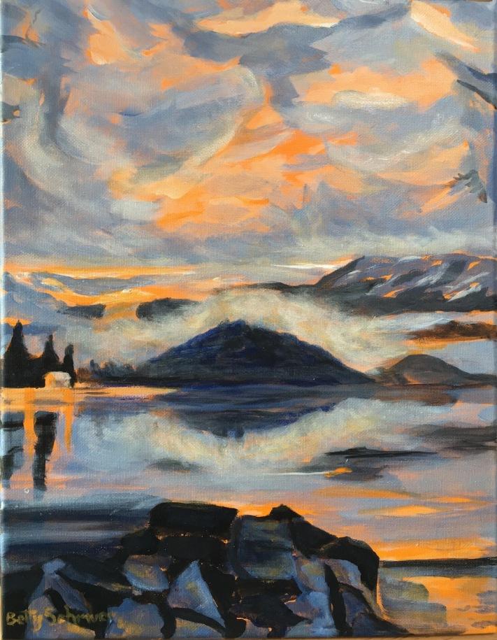 Betty Schriver - Moody Copper Island 11x14 Acrylic, framed, $170