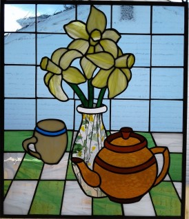 Stained Glass Teapot and Daffodils