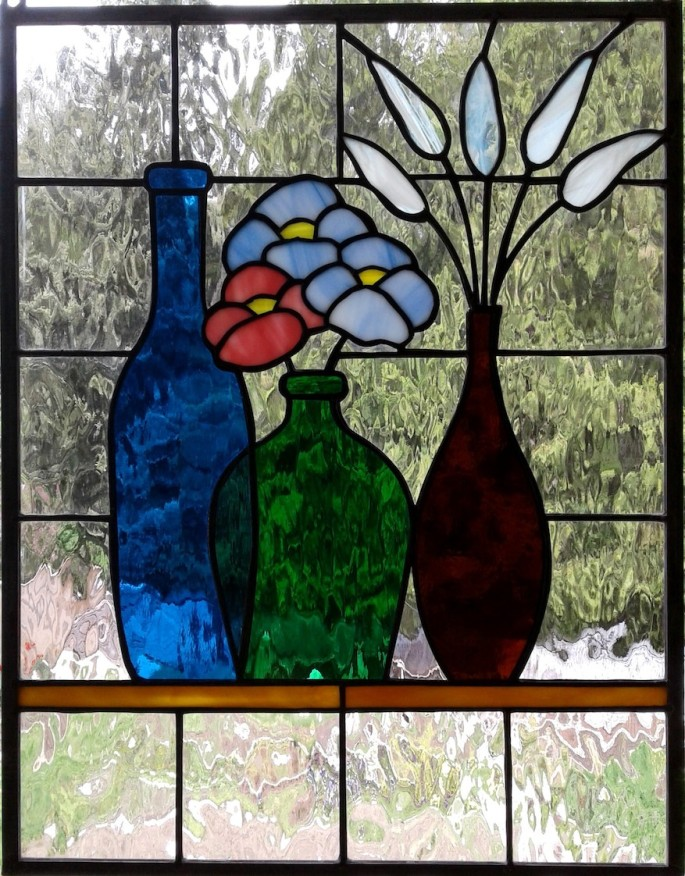 Stained Glass Three Bottles