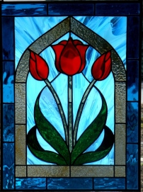 Stained Glass Three Red Tulips