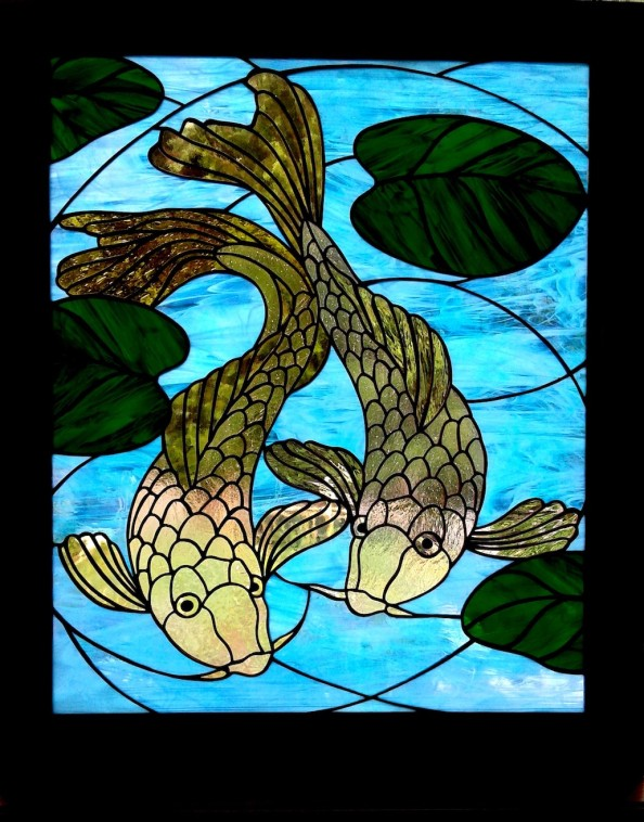 Stained Glass Two Koi