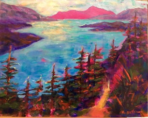 Betty Schriver - Birds Eye View 11x14 acrylic on Canvasboard, framed $175