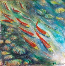 "Betty Schriver - Adams River Salmon Run #5 - 12x12"" acrylic on canvas, framed $160"