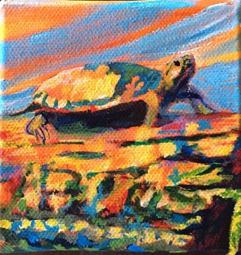 """Betty Schriver - McGuire Lake Turtle - 4x4"""" gallery wrap canvas, gold leaf adornment, $49"""
