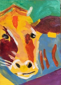 Betty Schriver - Mooo Abstract - 5x7 acrylic framed, SOLD