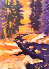 Betty Schriver - Snow Melting Stream - 4x6 acrylic framed, SOLD