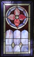 "Mitch Milgram -Formal Victorian Flower 15"" x 22"" Stained Glass $215"