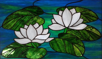 "Mitch Milgram -Waterlilies 18"" x 12"" Stained Glass $195"