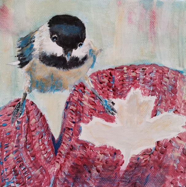 Betty Schriver - Chickadee on Canadian Mitt