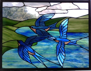 Stained Glass Three Swallows