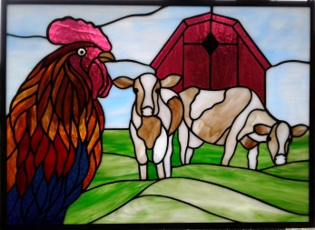 Stained Glass Cows, Rooster, Barn