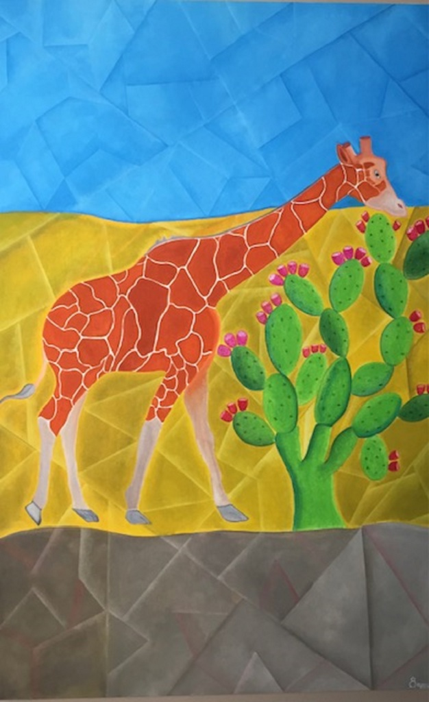 Oaxaca style Mexican art, oils, geometric shapes, bright colours