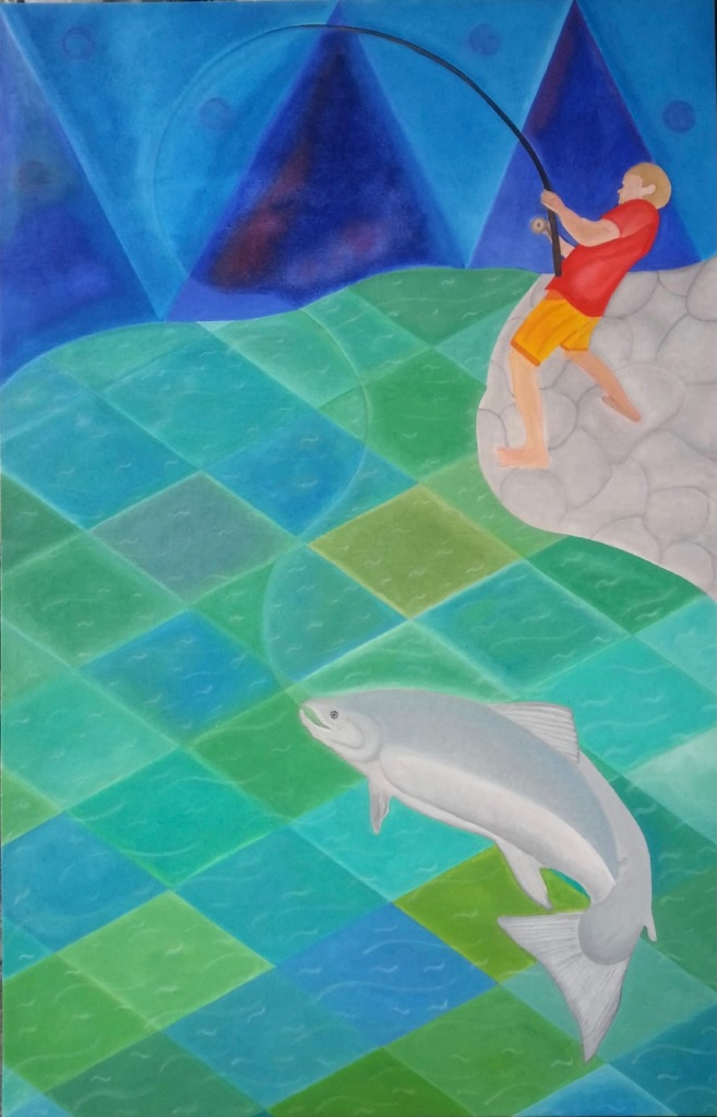 Oaxaca style Mexican art, oils, geometric shapes, bright colours, water colours